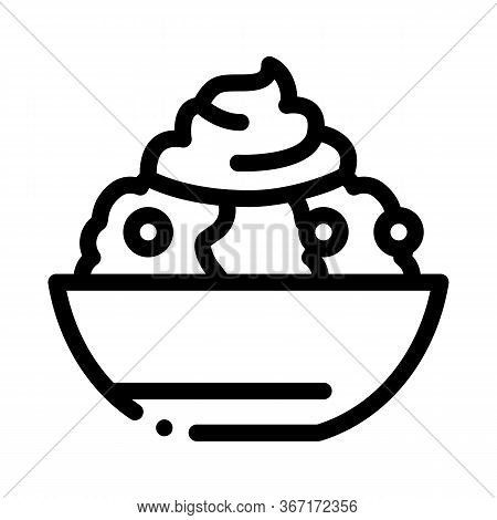Mayonnaise Salad Icon Vector. Mayonnaise Salad Sign. Isolated Contour Symbol Illustration