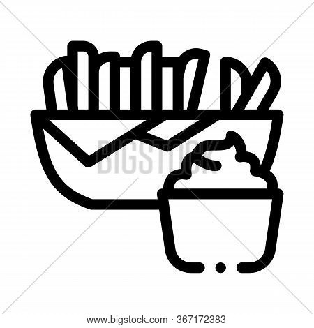 French Fries With Mayonnaise Sauce Icon Vector. French Fries With Mayonnaise Sauce Sign. Isolated Co
