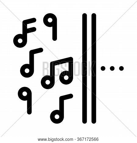 One Side Of Music Other Half Silence Icon Vector. One Side Of Music Other Half Silence Sign. Isolate