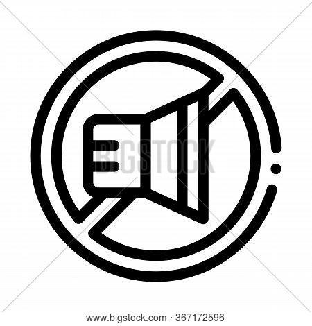 Speaker Ban Icon Vector. Speaker Ban Sign. Isolated Contour Symbol Illustration