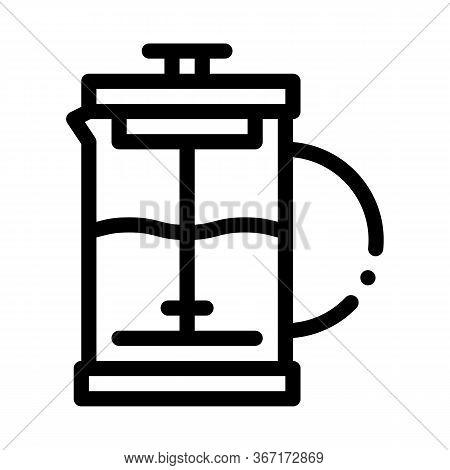 Press Teapot Icon Vector. Press Teapot Sign. Isolated Contour Symbol Illustration