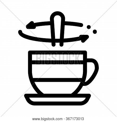 Stirring Spoon In Cup Of Tea Icon Vector. Stirring Spoon In Cup Of Tea Sign. Isolated Contour Symbol
