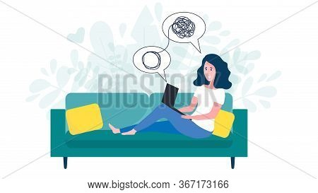 Woman Sitting On Sofa With Laptop On Online Psychological Consultation. Concept Of Online Psychother