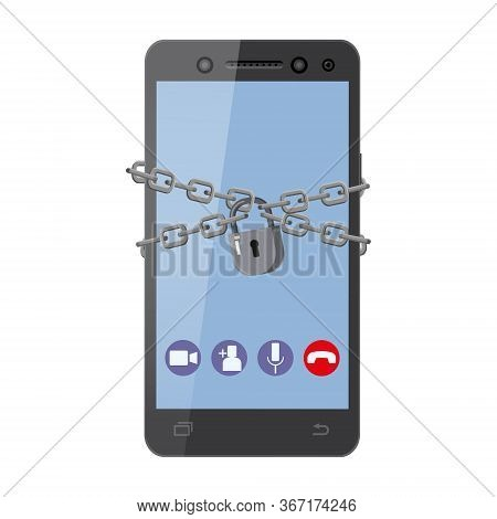 Protect Your Smatrphone, Mobile Are Bound With Chains And Locked With A Padlock. Hacking User Data S