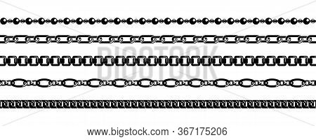 Set Of Black Chains Isolated On White Background. Silhouette Black Vertical And Horizontal Chains Se
