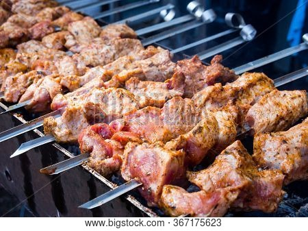 Juicy Chunks Of Meat Fried On The Grill