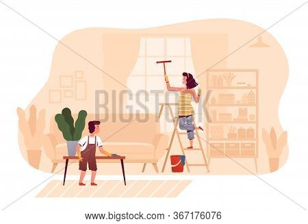 Cheerful Children Are Cleaning Together At Home In The Living Room. The Concept Of Child Care For Ad