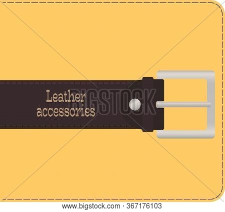 Brown Leather Belt With Metal Buckle. Flat Desing