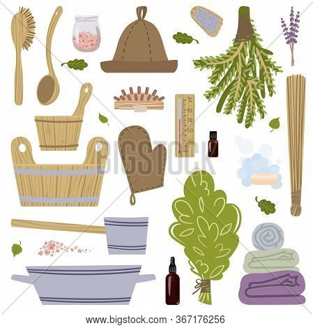 A Large Set Of Pictures On The Theme Of Taking Steam In The Bath. Vector Illustration.