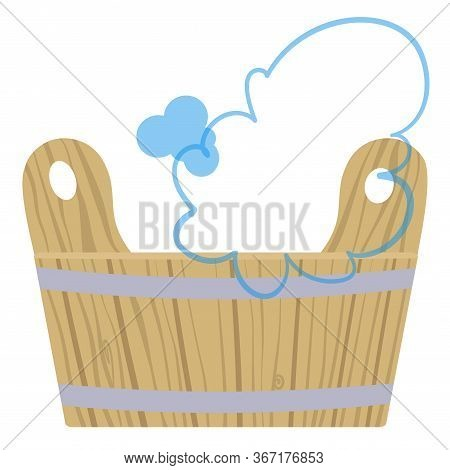 Tub With Water For Steaming In A Bath. Vector Illustration.