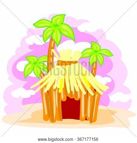 Hut Made Of Straw On A Background Of Palm Trees And A Pink Sky, Landscape, Exotic, Relaxation, Downs