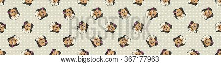 Hand Drawn Cute Rough Collie Breed Dog Face With Pink Bow Seamless Vector Border. Purebred Pedigree