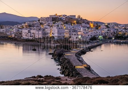 Romantic And Peaceful Scenery On Greek Town Naxos Ar Dawn. Concept Of Tranqulity, Silence, Magic, Ro