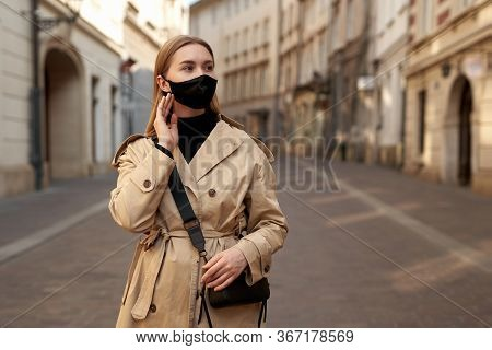 Woman Wearing Trendy Fashion Outfit During Quarantine Of Coronavirus Outbreak. Model Dressed Protect