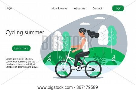 Cycling Summer Concept Vector For Homepage. Girl Is Riding A Bicycle In The City Park, Forest, Villa