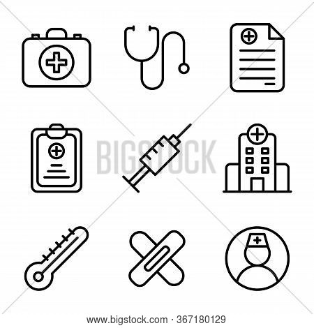 Medic Icon Set Include Aid, First, Kit, Health, Doctor, Medic, Medical, Stethoscope, Prescription, H
