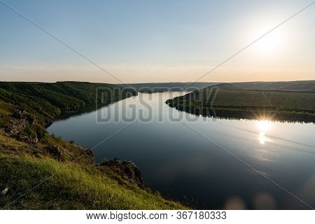 Sunset River Clear Sky Landscape. Summer Rural River View With Sunset Panorama