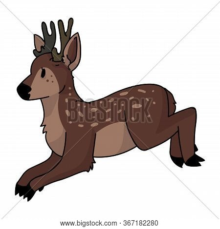 Cute Jumping Deer Animal Vector Illustration. Buck Deer With Antlers. Childlish Hand Drawn Doodle St