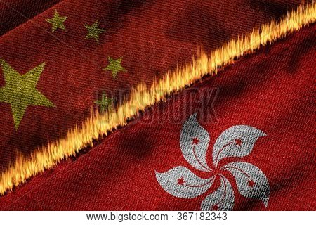 3d Rendering Of The Flags Of China And Hong Kong Illustrating Concept Of Conflict Between Hong Kong