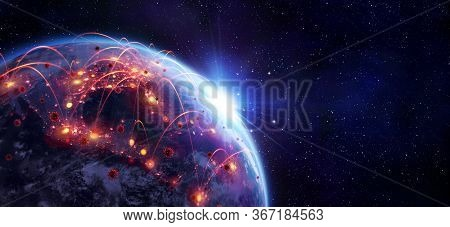 Coronavirus Spreading In Usa - Elements Of This Image Furnished By Nasa - Contain 3d Rendering And 3