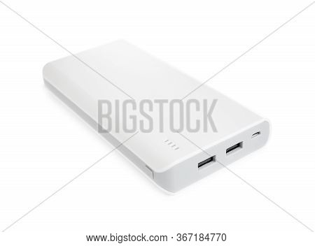 Modern External Portable Charger Isolated On White