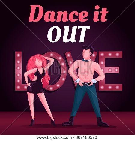 Strip Club Show Social Media Post Mockup. Dance It Out Phrase. Web Banner Design Template. Stripteas