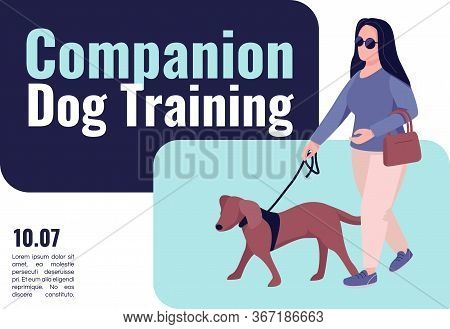Companion Dog Training Banner Flat Vector Template. Brochure, Poster Concept Design With Cartoon Cha