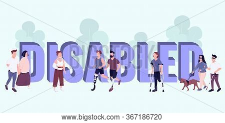 Disabled Word Concepts Flat Color Vector Banner. Isolated Typography With Tiny Cartoon Characters. P