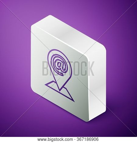Isometric Line Location And Mail And E-mail Icon Isolated On Purple Background. Envelope Symbol E-ma
