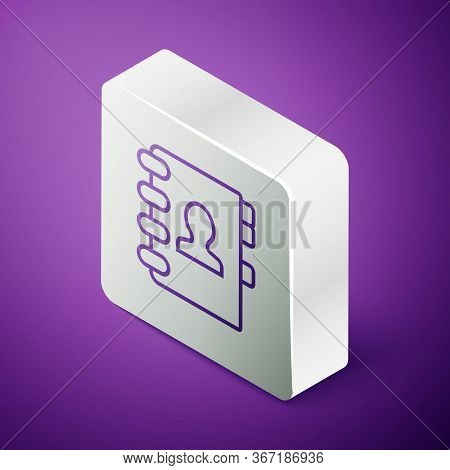 Isometric Line Address Book Icon Isolated On Purple Background. Notebook, Address, Contact, Director