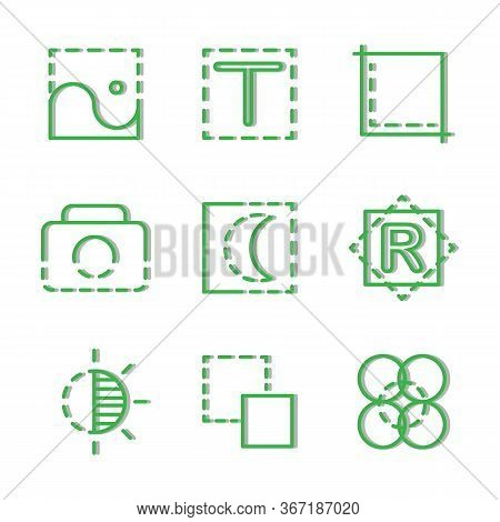 Photo Editor Icon Set Include File, Image, Photo, Picture, Edit, Text, Crop, Camera, Capture, Night,