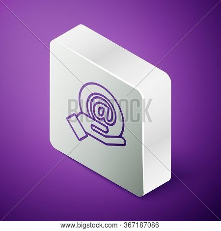 Isometric Line Mail And E-mail In Hand Icon Isolated On Purple Background. Envelope Symbol E-mail. E