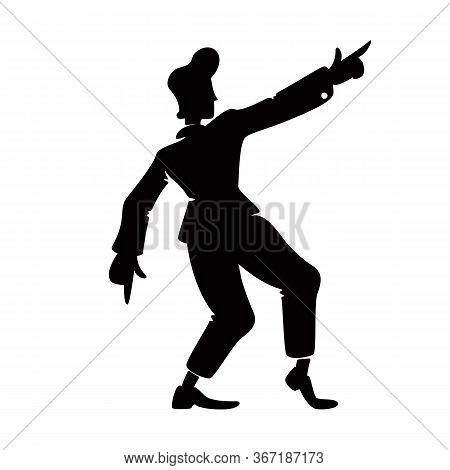 Retro Style Confident Guy Black Silhouette Vector Illustration. Old Fashioned Male Person In Hand Up