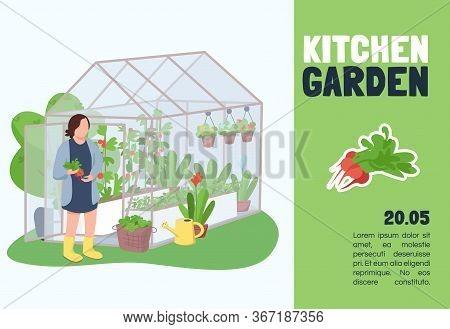 Kitchen Garden Banner Flat Vector Template. Brochure, Poster Concept Design With Cartoon Characters.