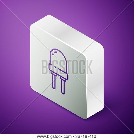 Isometric Line Light Emitting Diode Icon Isolated On Purple Background. Semiconductor Diode Electric