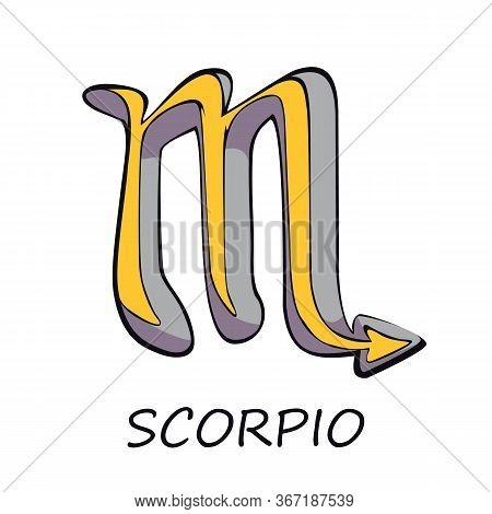 Scorpio Zodiac Sign Flat Cartoon Vector Illustration. Celestial Scorpion, Water Horoscope Symbol. As
