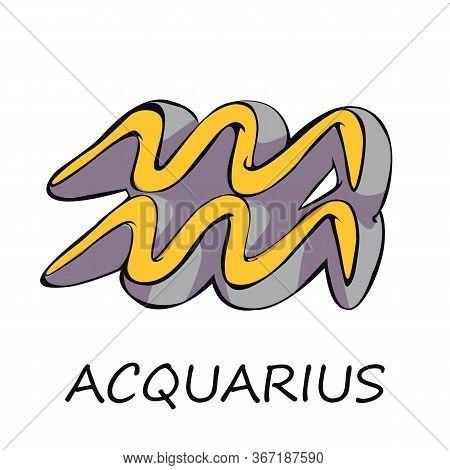 Aquarius Zodiac Sign Flat Cartoon Vector Illustration. Astrological Celestial And Mythological Air S