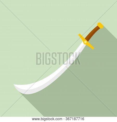 Turkish Sword Icon. Flat Illustration Of Turkish Sword Vector Icon For Web Design