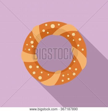 Turkish Bagel Icon. Flat Illustration Of Turkish Bagel Vector Icon For Web Design