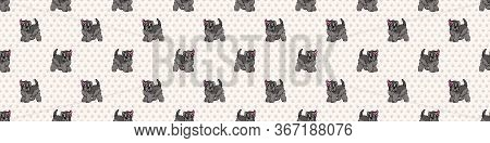 Hand Drawn Cute Schnauzer Breed Puppy With Pink Bow Seamless Vector Border. Purebred Pedigree Domest