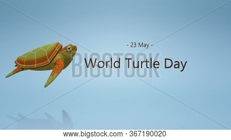 World Turtle Day. 3d Image On The Theme Of Animals, Animal Welfare, Nature Conservation