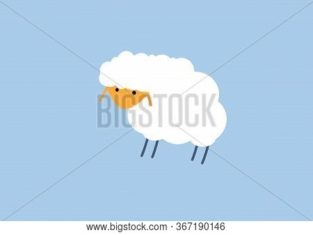 Cartoon Sheep On A Blue Background. Blue And White Funny Children Nursery Illustrated Sheep. Seamles
