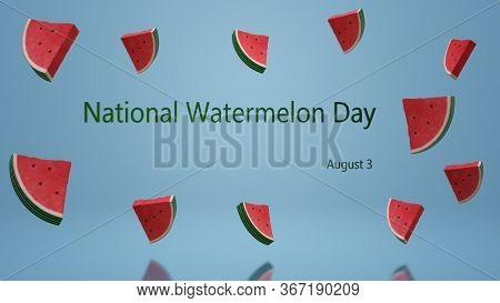 Slices Of Watermelon With On A Blue Background. National Watermelon Day. Summer Berries. Summer Bann