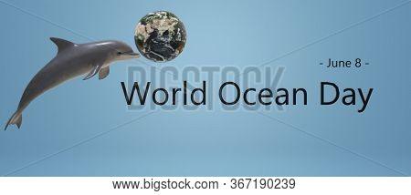 World Ocean Day. Ocean Day Banner. 3d Text.