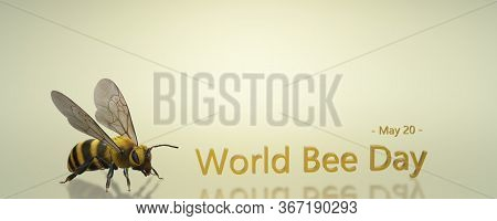 Beer Day Banner. World Bee Day. 3d Bee.