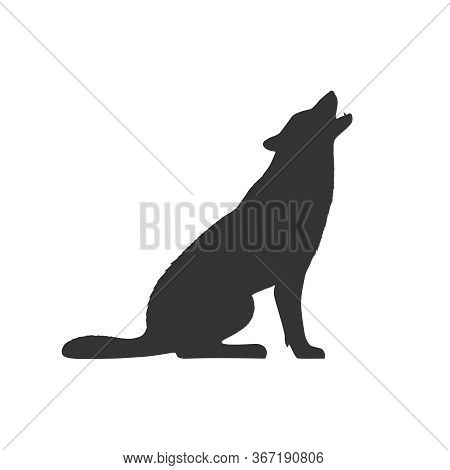 Wolf Graphic Icon. Wolf Sits And Howls Sign Isolated On White Background. Vector Illustration
