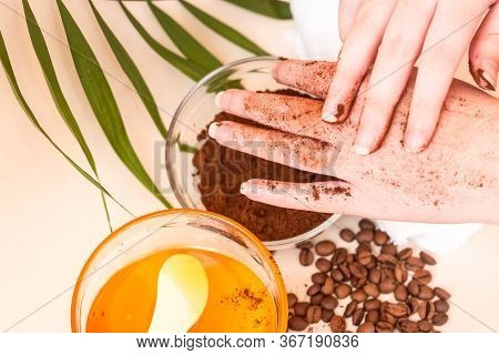 Spa Care At Home. Womens Hands Make A Scrub With Ground Coffee. Scrub Of Coffee And Honey. Bright Ba