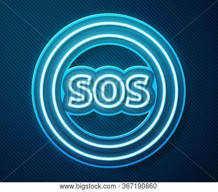 Glowing Neon Line Location With Sos Icon Isolated On Blue Background. Sos Call Marker. Map Pointer S