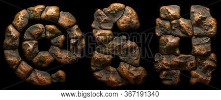 Set of rocky symbols at, ampersand, hash. Font of stone on black background. 3d rendering