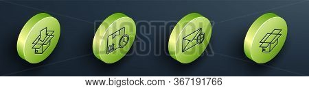 Set Isometric Cardboard Box With Traffic Symbol, Cardboard Box And Fast Time, Envelope With Shield A